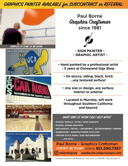 Your Sign Painter flyer - hand painted signs, graphic artist - San Diego, Orange County, Southern California